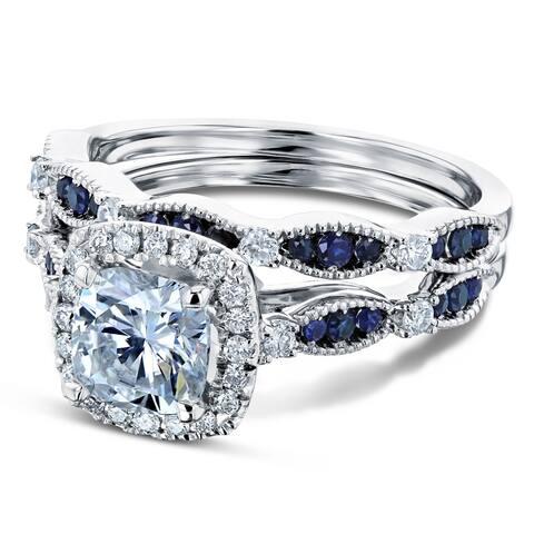 Annello by Kobelli 14k Gold 1 5/8ct TGW Moissanite Sapphire and Diamond Bridal Set (HI/VS, GH/I, Blue)