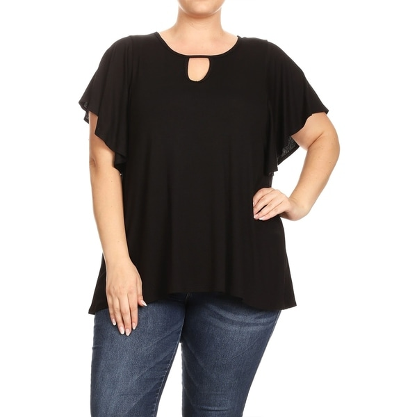 Women's Solid Basic Casual Short Flutter Sleeves Plus Size Tunic top Blouse
