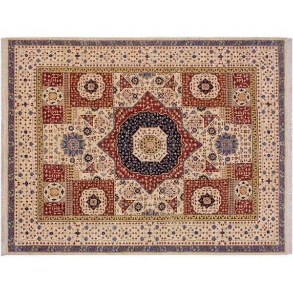 "Mamluk Speed Ivory/Blue Wool Rug -8'2 x 9'11 - 8'2"" x 9'11"""