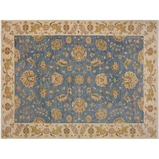 """Ziegler Kafkaz Spradlin Blue/Ivory Wool Rug -8'11 x 11'9 - 8'11"""" x 11'9"""""""