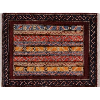 "Khurgeen Staton Drk. Red/Blue Wool Rug -2'0 x 2'10 - 2'0"" x 2'10"""