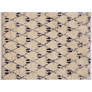 """Moroccan Stanfiel Ivory/Blue Wool Rug -5'2 x 8'0 - 5'2"""" x 8'0"""""""