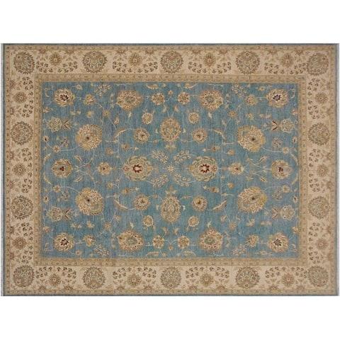 """Ziegler Kafkaz Spears Blue/Ivory Wool Rug -8'11 x 11'10 - 8'11"""" x 11'10"""""""