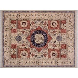 """Mamluk Spivey Ivory/Rust Wool Rug -8'1 x 10'2 - 8'1"""" x 10'2"""""""