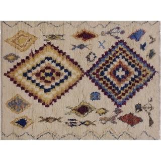 """Moroccan Stafford Ivory/Blue Wool Rug -5'1 x 7'1 - 5'1"""" x 7'1"""""""