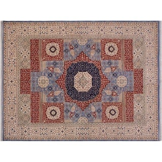 Mamluk Spencer Ivory/Blue Wool Rug - 9'1 x 12'1