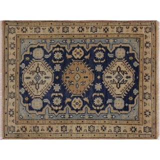 "Kazak Steed Blue/Ivory Wool Rug -2'0 x 3'0 - 2'0"" x 3'0"""
