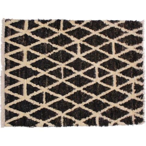 "Moroccan Stanford Dark Brown/Ivory Wool Rug -3'11 x 5'10 - 3'11"" x 5'10"""