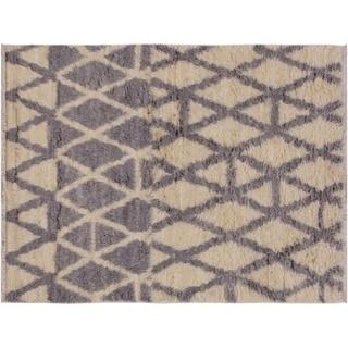 """Moroccan Stackhou Ivory/Grey Wool Rug -3'10 x 5'9 - 3'10"""" x 5'9"""""""