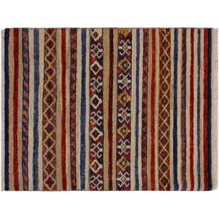 "Khurgeen Steinber Tan/Blue Wool Rug -2'1 x 2'11 - 2'1"" x 2'11"""