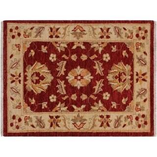 "Ziegler Kafkaz Stepp Red/Ivory Wool Rug -2'1 x 3'0 - 2'1"" x 3'0"""