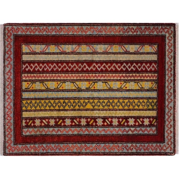 "Khurgeen Steele Red/Gray Wool Rug -2'0 x 2'1 - 2'0"" x 2'1"""