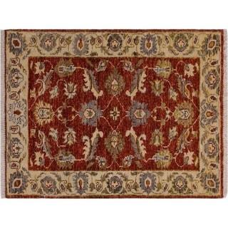 "Ziegler Kafkaz Stegall Red/Ivory Wool Rug -1'11 x 2'10 - 1'11"" x 2'10"""