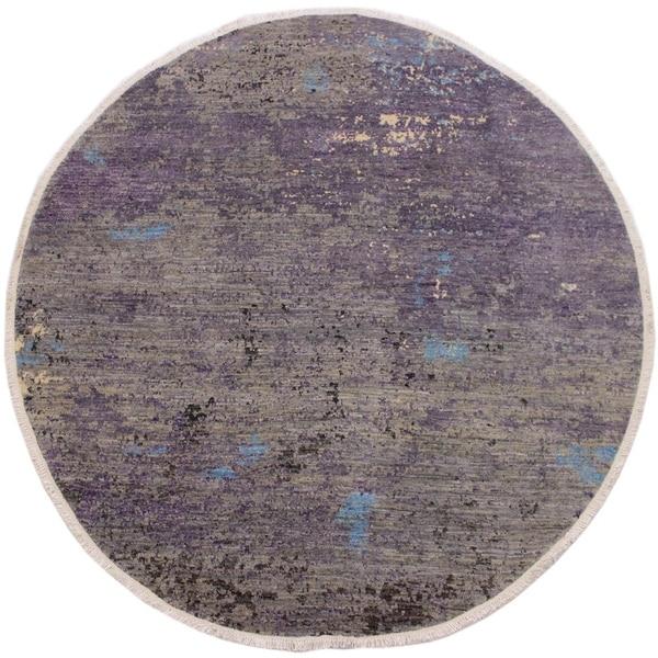 "Modern Abstract Stinnett Grey/Blue Wool Round -7'10 x 8'0 - 7'10"" x 8'0"""