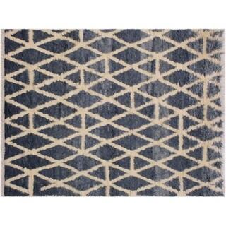 "Moroccan Stock Grey/Ivory Wool Rug -5'2 x 7'10 - 5'2"" x 7'10"""