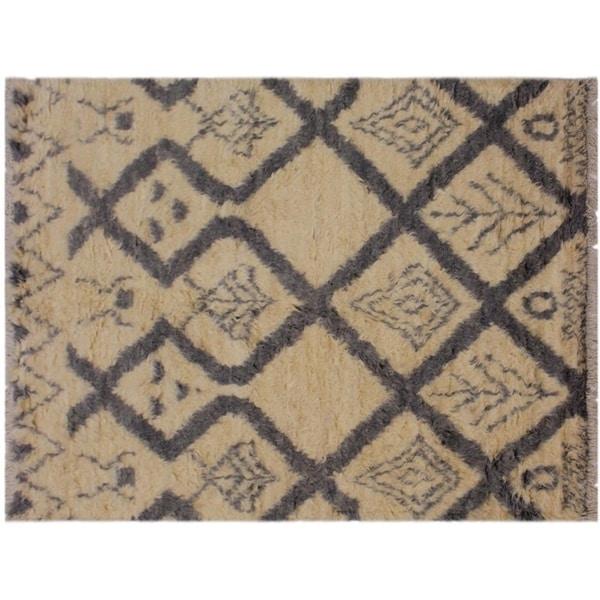 "Moroccan Stringer Ivory/Grey Wool Rug -4'1 x 6'1 - 4'1"" x 6'1"""