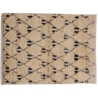 "Moroccan Streeter Ivory/Black Wool Rug -4'3 x 6'3 - 4'3"" x 6'3"""
