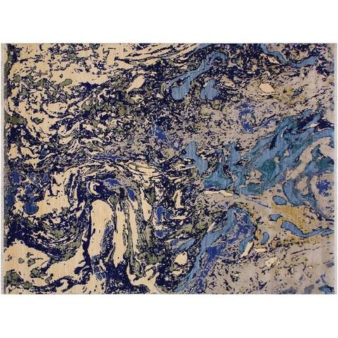 Modern Abstract Stoddard Handmade Blue/Ivory Wool and Silk Rug - 8'1 x 10'2