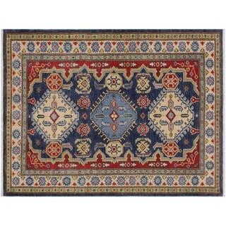 "Kazak Story Blue/Ivory Wool Rug -3'1 x 4'11 - 3'1"" x 4'11"""