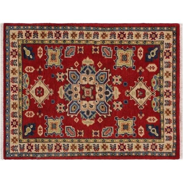 "Kazak Stovall Red/Ivory Wool Rug -2'0 x 2'11 - 2'0"" x 2'11"""