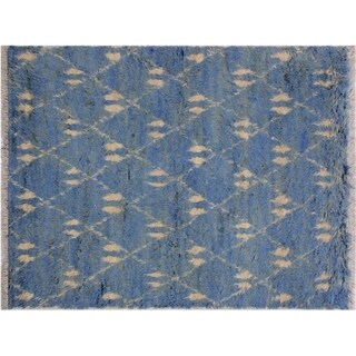 "Moroccan Saxon Lt. Blue/Ivory Wool Rug -4'1 x 6'2 - 4'1"" x 6'2"""