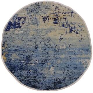 "Modern Abstract Stokes Lt. Blue/Blue Wool & Silk Round -8'0 x 8'4 - 8'0"" x 8'4"""