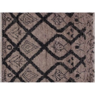 """Moroccan Savage Lt. Brown/Black Wool Rug -4'1 x 6'3 - 4'1"""" x 6'3"""""""