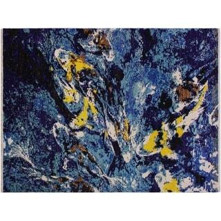 "Modern Abstract Stoll Blue/Ivory Wool&Silk Rug -5'11 x 8'10 - 5'11"" x 8'10"""