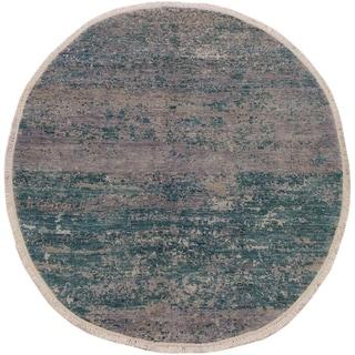 """Modern Abstract Stinson Green/Grey Wool & Silk Round -6'0 x 6'0 - 6'0"""" x 6'0"""""""