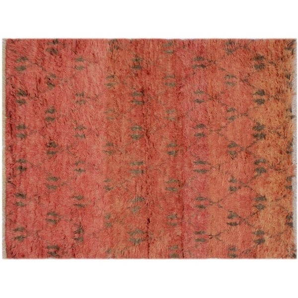 "Moroccan Sawyers Rust/Brown Wool Rug -5'3 x 8'3 - 5'3"" x 8'3"""