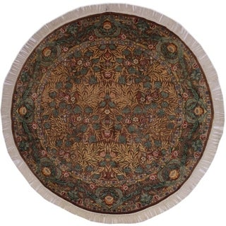 "Imran Pak-Persian Carina Brown/Green Round Rug -8'0 x 8'1 - 8'0"" x 8'1"""