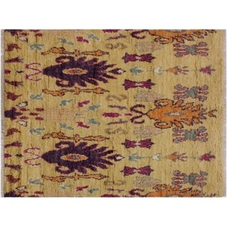 "Moroccan Stjohn Lt. Gold/Purple Wool Rug -5'1 x 7'6 - 5'1"" x 7'6"""