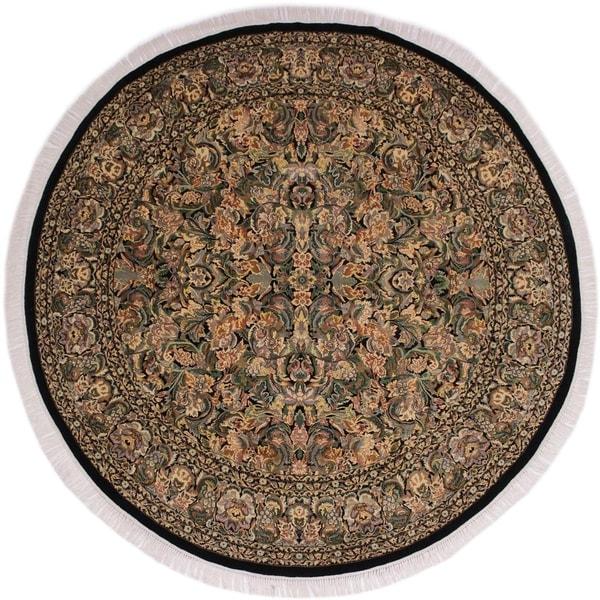 """Pak-Persian Vergie Black/Gray Round Rug -7'11 x 8'0 - 7'11"""" x 8'0"""""""