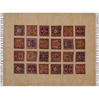 "Khurgeen Saylor Ivory/Red Wool Rug -3'5 x 5'2 - 3'5"" x 5'2"""