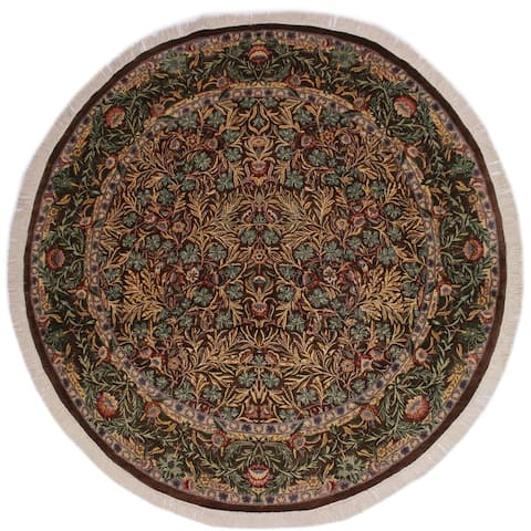 "Imran Pak-Persian Marqueri Brown/Gray Round Rug -8'0 x 8'4 - 8'0"" x 8'4"""