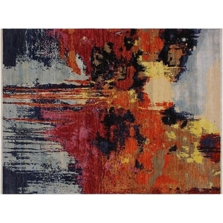 Summers Blue/Red Wool and Silk Modern Abstract Rug - 8' x 9'11