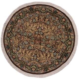 """Imran Pak-Persian Cinthia Brown/Gray Round Rug -6'1 x 6'1 - 6'1"""" x 6'1"""""""