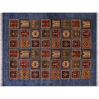 "Khurgeen Scales Blue/Red Wool Rug -6'1 x 8'8 - 6'1"" x 8'8"""