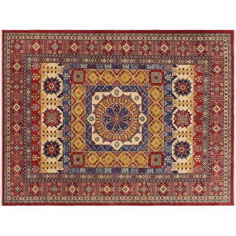 "Kazak Swanson Red/Blue Wool Rug -10'2 x 13'6 - 10'2"" x 13'6"""