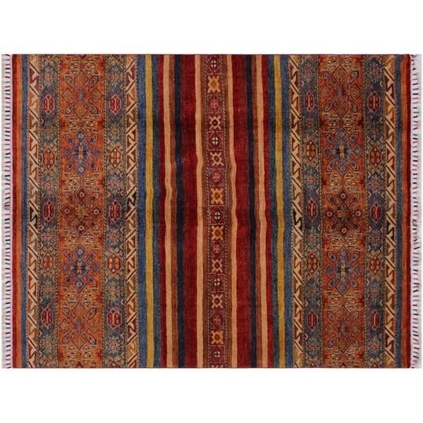 "Khurgeen Scanlon Red/Orange Wool Rug -5'10 x 7'7 - 5'10"" x 7'7"""