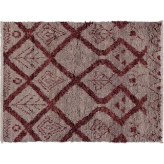 "Moroccan Sawyer Lt. Gray/Rust Wool Rug -4'2 x 6'3 - 4'2"" x 6'3"""