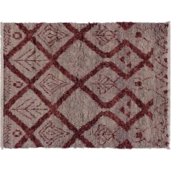 "Moroccan Sawyer Lt. Gray/Rust Wool Rug -4'2 x 6'3 - 4'2"" x 6'3"""