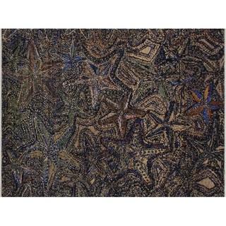 Handmade Modern Abstract Schaefer Blue/Grey Wool&Silk Rug - 8' x 10'2