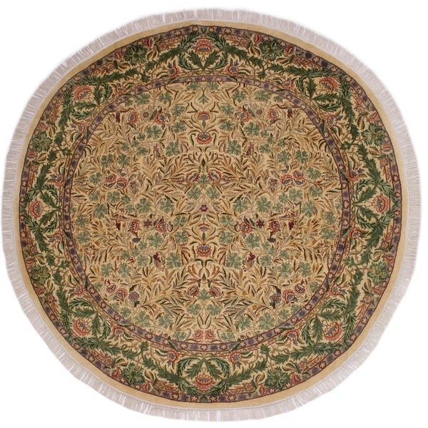 """Imran Pak-Persian Hong Ivory/Green Round Rug -8'1 x 8'2 - 8'1"""" x 8'2"""""""