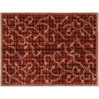 "Modern Ziegler Arnita Red/Lt. Brown Wool Rug -6'0 x 8'10 - 6'0"" x 8'10"""