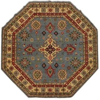"""Kazak Leo Lt. Blue/Beige Wool Round -7'10 x 7'11 - 7'10"""" x 7'11"""""""