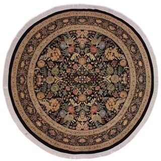 "Nagi Pak-Persian Camellia Black/Gray Round Rug -9'0 x 9'2 - 9'0"" x 9'2"""