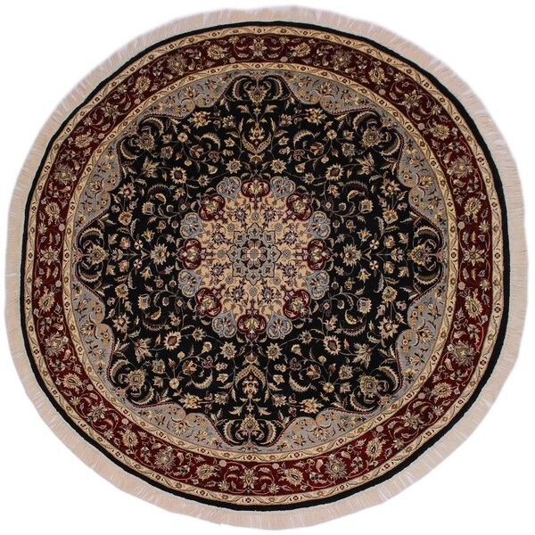 "Kashan Pak-Persian Piper Black/Red Round Rug -8'2 x 8'4 - 8'2"" x 8'4"""