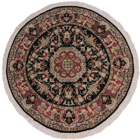 """Anarkali Pak-Persian Barabara Black/Pink Round Rug -5'11 x 6'2 - 5'11"""" x 6'2"""""""
