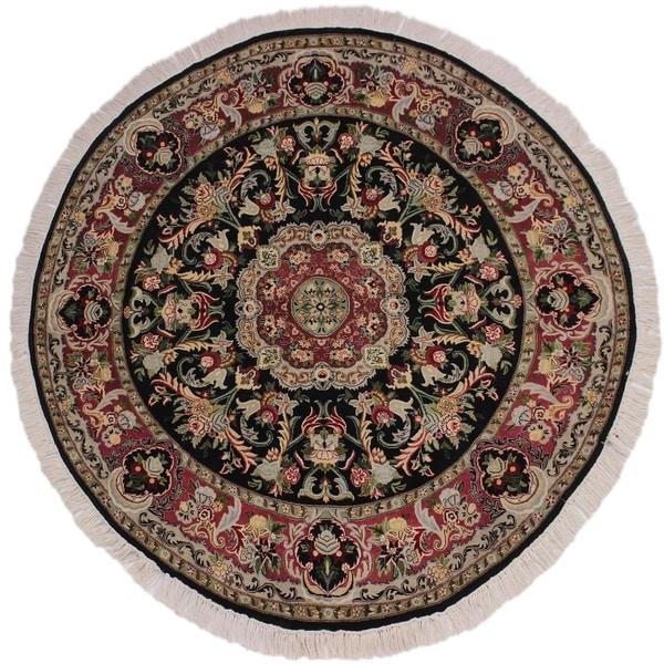 """Anarkali Pak-Persian Barabara Black/Pink Round Rug -5'11 x 6'2 - 5'11"""" x 6'2"""". Opens flyout."""